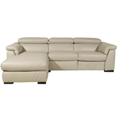 Natuzzi Editions B634 Contemporary Chaise Sofa and Wooden Block Feet