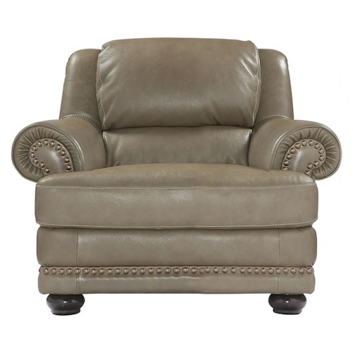 Natuzzi Editions B642 Leather Chair with Oversized Nailhead Studs