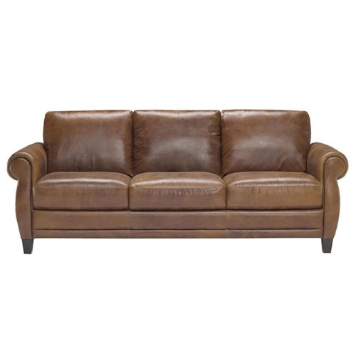 Natuzzi Editions B690 3 Seater Sofa with Rolled Arms and Wood Legs