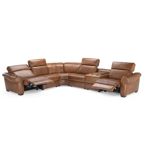 Natuzzi Editions B751 Transitional Reclining Sectional with Storage Console and Cupholders