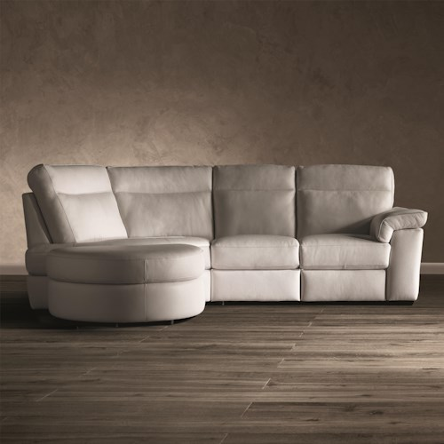 Natuzzi Editions B757 Three Piece Stationary Sectional Sofa with Left Arm Bumper