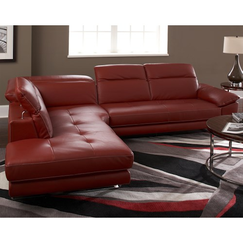Natuzzi Editions B796 Two Piece Sectional Sofa with LAF Bumper and Adjustable Headrests