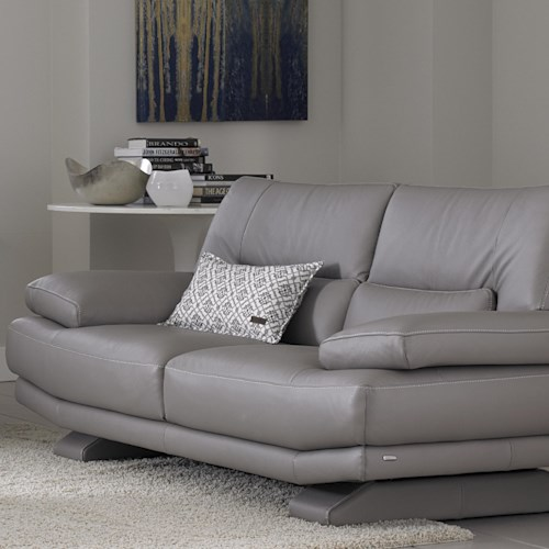 Natuzzi Editions B803 Contemporary Love Seat with Lumbar Support and Futuristic Front-to-Back Legs