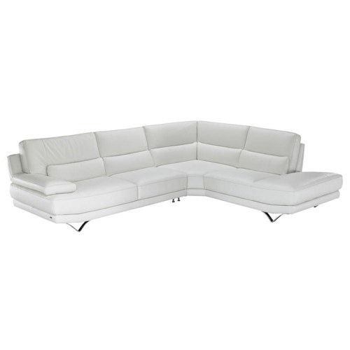 Natuzzi Editions B803 Contemporary L-Shaped Sectional Sofa with Lumbar Support, Futuristic Metal Legs, and Right Chaise Seat
