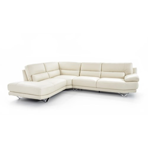Natuzzi Editions B803 Contemporary L-Shaped Sectional Sofa with Lumbar Support, Futuristic Metal Legs, and Left Chaise Seat