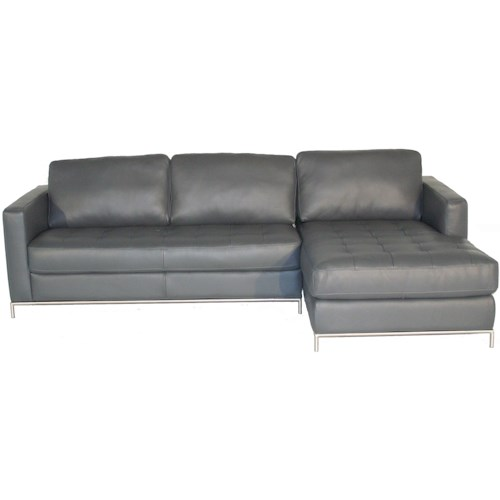 Natuzzi Editions B805 Right Arm Facing Sofa Chaise with Button-Tufted Seat and Metal Legs