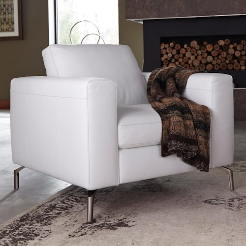 Natuzzi Editions B845 Contemporary Chair with Semi-Attached Seat Back