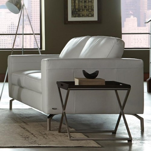Natuzzi Editions B845 Contemporary Loveseat with Box Cushion Seats