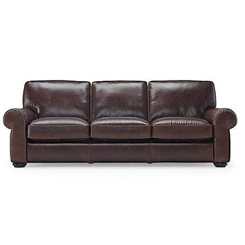 Natuzzi Editions B860 Traditional Leather Sofa w/ Bun Feet