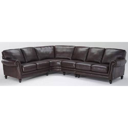 Natuzzi Editions B868 Traditional Sectional Sofa in Leather