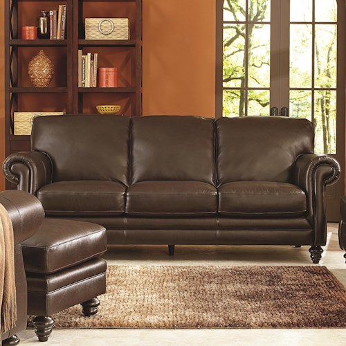 Natuzzi Editions B868 Traditional Sofa with Rolled Panel Arms