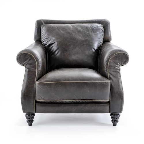 Natuzzi Editions B872 Traditional Chair w/ Rolled Arms