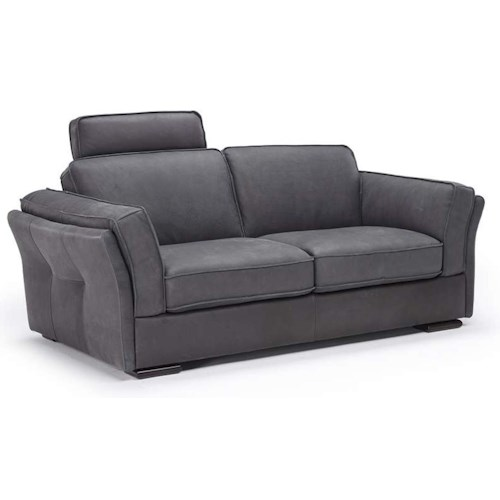 Natuzzi Editions B888 Flared Arm Loveseat w/ Headrest