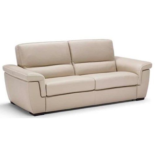 Natuzzi Editions B933 Contemporary Sofa Sleeper with Pillow Arms and Block Feet