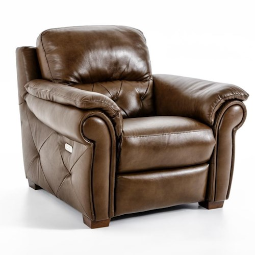 Natuzzi Editions B935 Casual Recliner with Rolled Pillow Arms