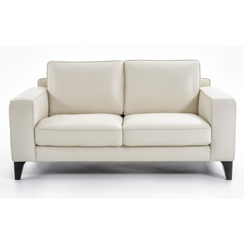 Natuzzi Editions B968 Contemporary Loveseat with Track Arms