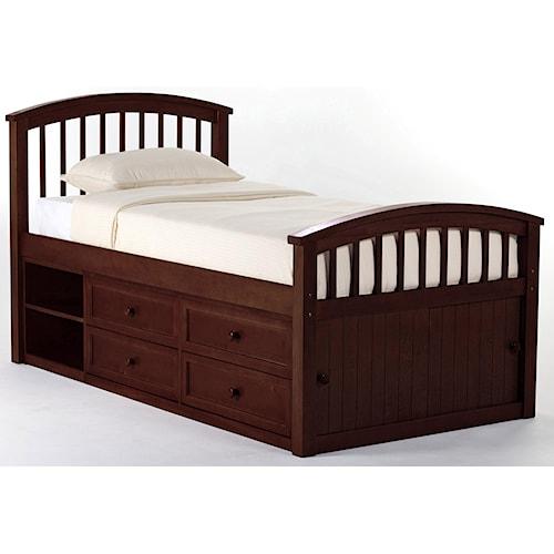NE Kids School House Twin Captain Bed w/ Storage