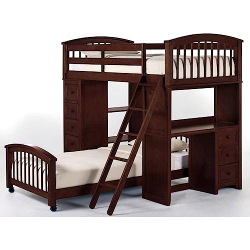 NE Kids School House Twin Student Loft Bed w/ Lower Twin Bed