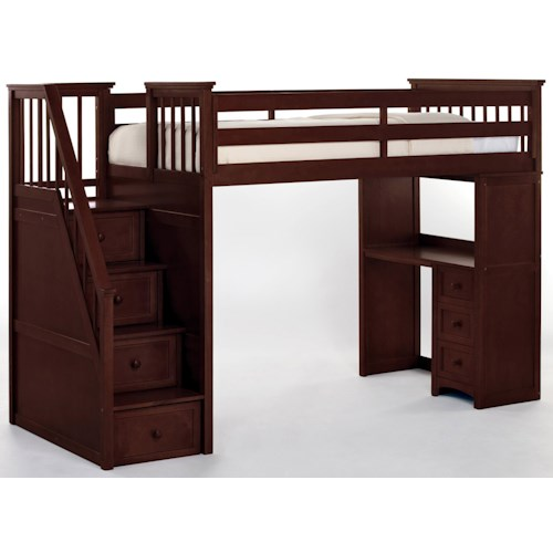 NE Kids School House Stair Loft Bed w/ Desk