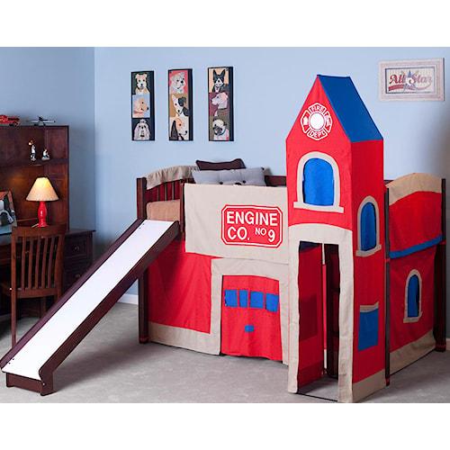 NE Kids School House Junior Loft Bed w/ Firehouse Tent