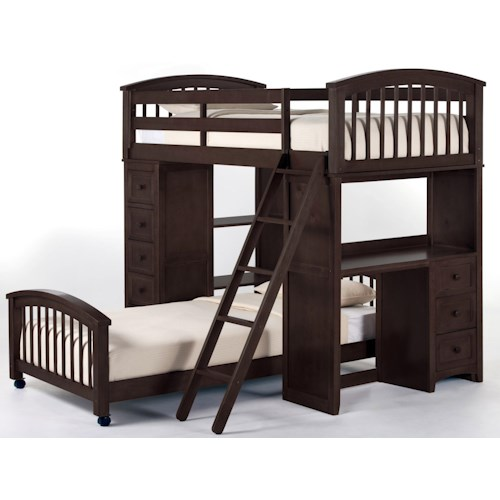 NE Kids School House Twin Student Loft Bed w/ Lower Twin Bed