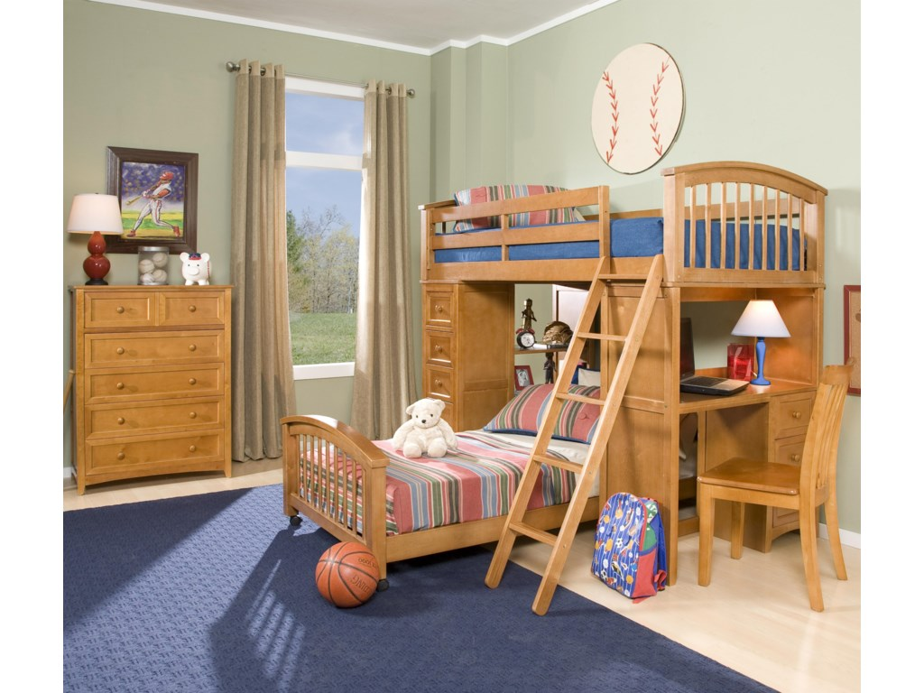 Shown in Room Setting with Lower Bed, School Chair and Five-Drawer Chest