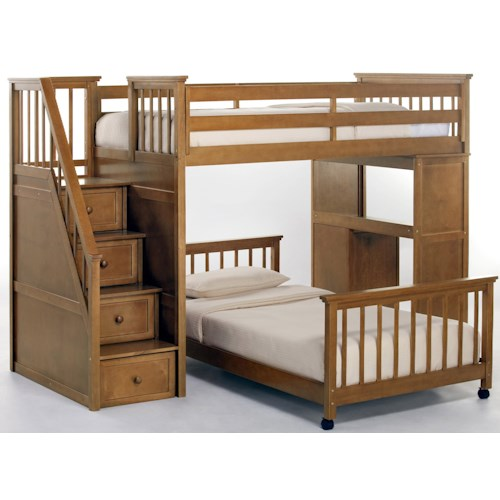 NE Kids School House Twin Stair Loft Bed w/ Lower Bed