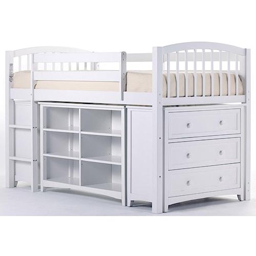 NE Kids School House Junior Loft Bed w/ Chest and Shelves