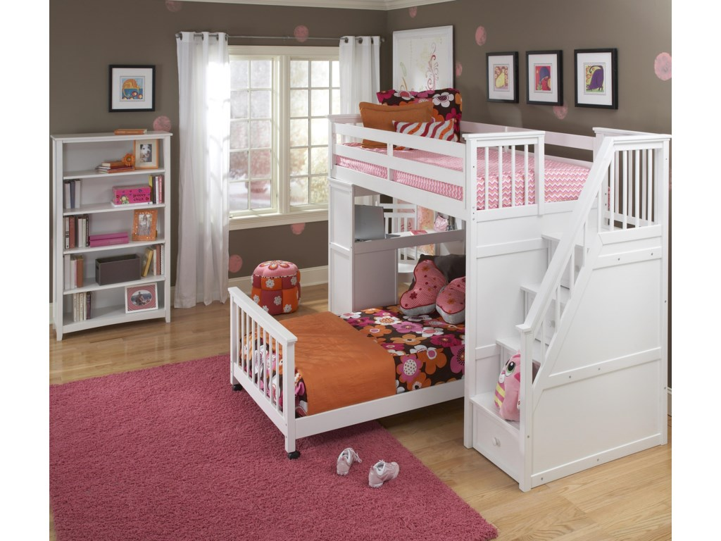 Shown in Room Setting with Lower Bed, Storage Stairs and Vertical Shelf
