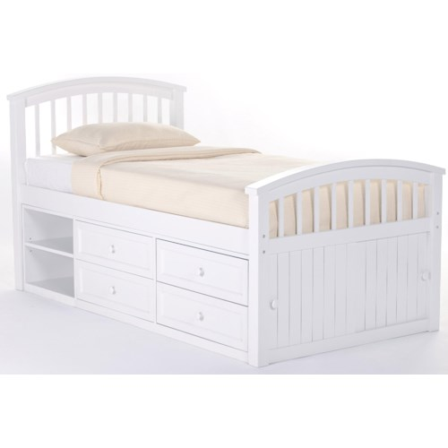 NE Kids School House Twin Captain Bed w/ Storage