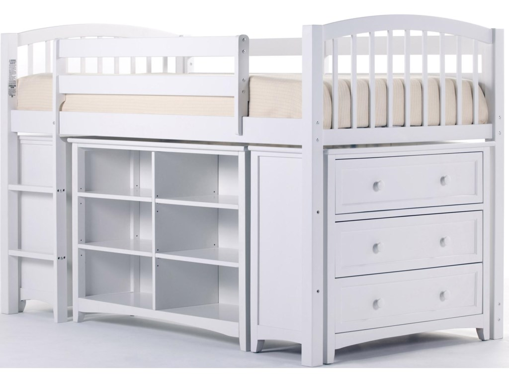 Shown in Room Setting with Junior Loft Bed, Three Drawer Chest and Horizontal Bookcase