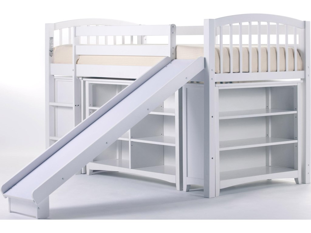 Shown with Junior Loft Bed with Horizontal Bookcase and Slide