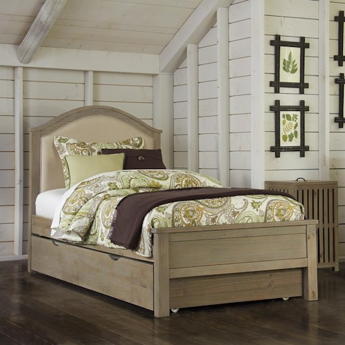 NE Kids Highlands Twin Bailey Bed with Cream Upholstered Headboard and Under Bed Trundle