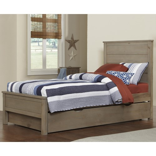 NE Kids Highlands Twin Alex Bed with Flat Panel Headboard and Footboard and Under Bed Trundle