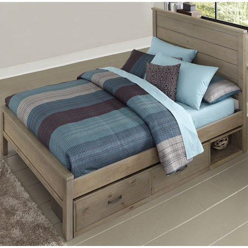NE Kids Highlands Full Alex Bed with Flat Panel Headboard and Footboard and Under Bed Storage