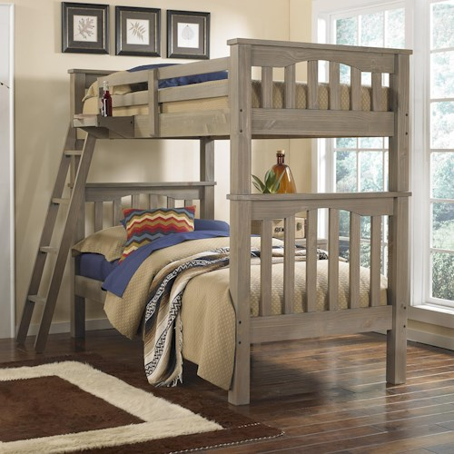 NE Kids Highlands Mission Style Twin Over Twin Harper Bunk Bed with Hanging Tray