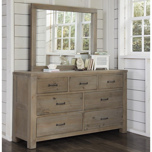 NE Kids Highlands 7 Drawer Dresser and Mirror Combination