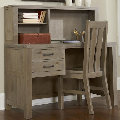 NE Kids Highlands Youth 2 Drawer Shell Desk and Hutch with Shelf