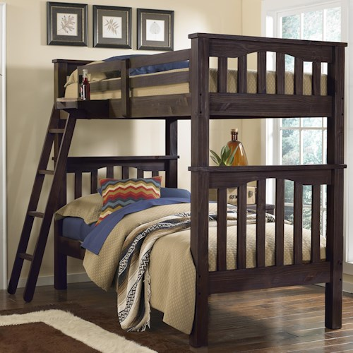 NE Kids Highlands Mission Style Twin Over Twin Harper Bunk Bed