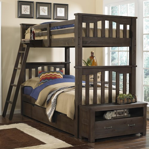 NE Kids Highlands Mission Style Twin Over Twin Harper Bunk Bed with Hanging Tray and Under Bed Trundle