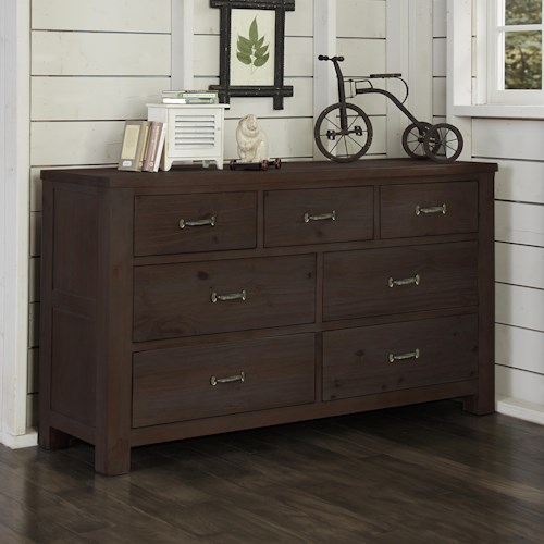 NE Kids Highlands Transitional 7 Drawer Dresser with Driftwood Finish and Dark Metal Drawer Pulls