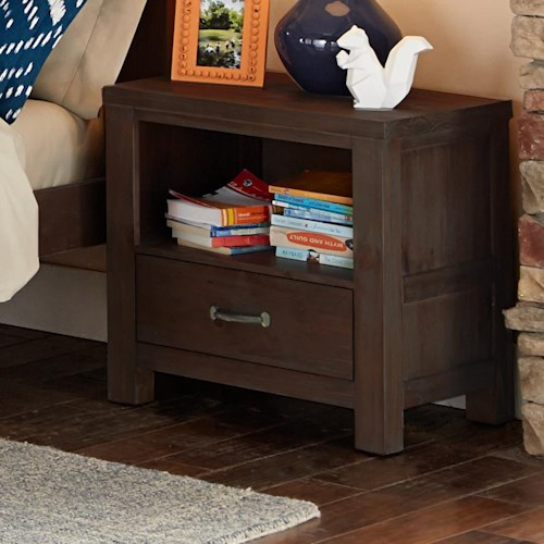 NE Kids Highlands Single Drawer Night Stand with Cubby