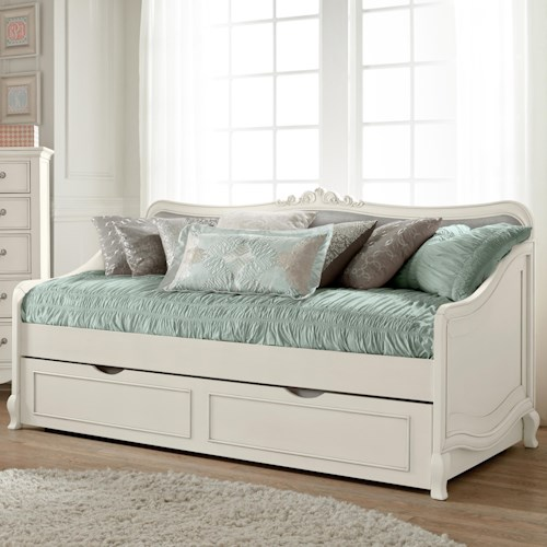 NE Kids Kensington Elizabeth Daybed with Trundle and Scroll Carving