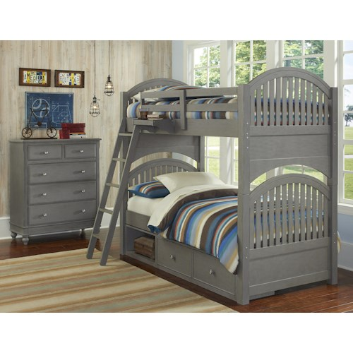 NE Kids Lake House Twin Storage Bunk Bed Group
