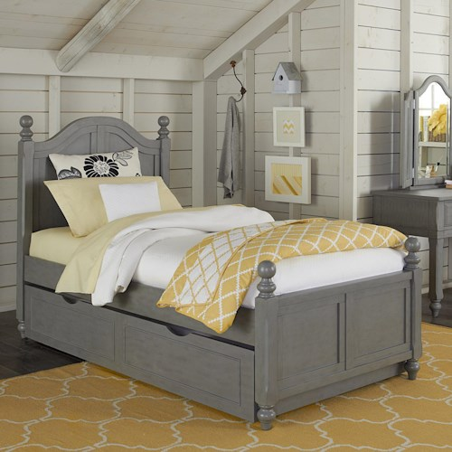 NE Kids Lake House Twin Bed with Arched Headboard and Trundle