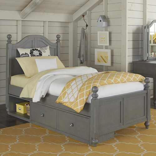 NE Kids Lake House Twin Bed with Arched Headboard and Underneath Storage