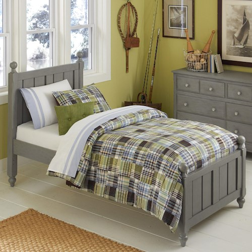 NE Kids Lake House Twin Panel Bed with Chamfered Posts and Ball Finials