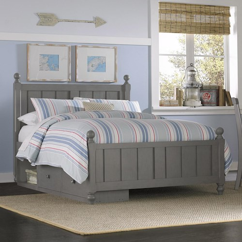 NE Kids Lake House Full Panel Bed with Chamfered Posts, Ball Finials and Underneath Storage