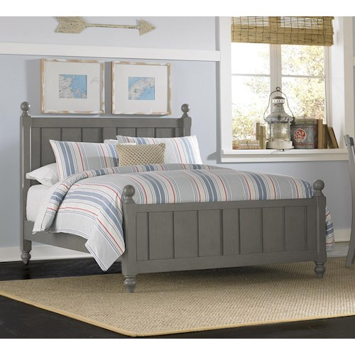 NE Kids Lake House Full Panel Bed with Chamfered Posts and Ball Finials