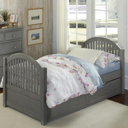 NE Kids Lake House Twin Bed with Arched Headboard and Footboard and Trundle